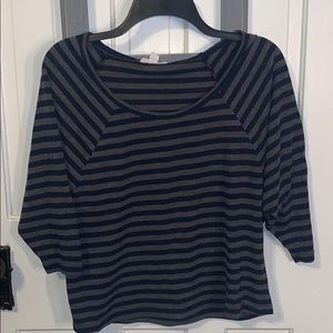 Grey and navy striped cropped shirt